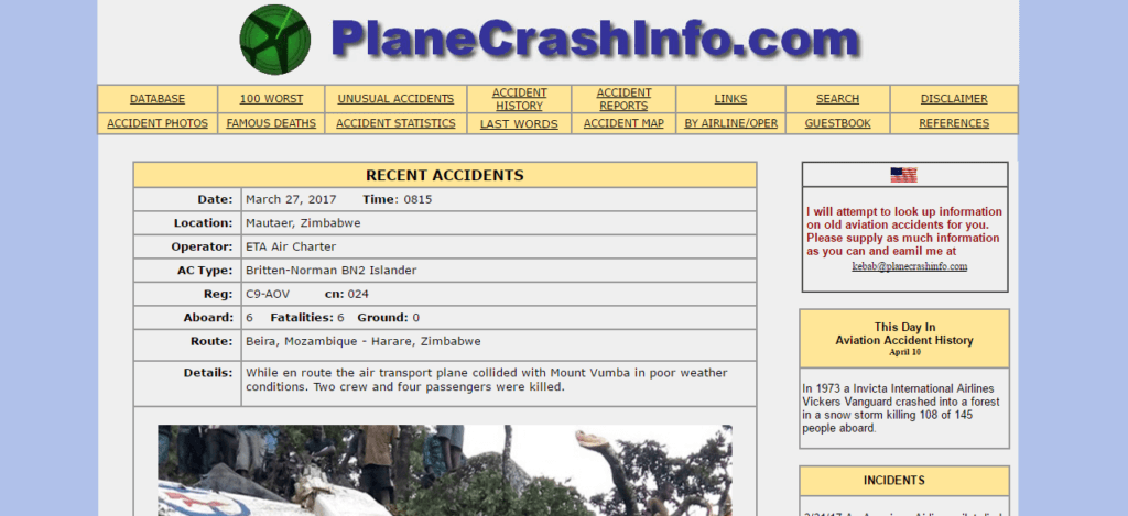Weird Websites - Plane Crash Info
